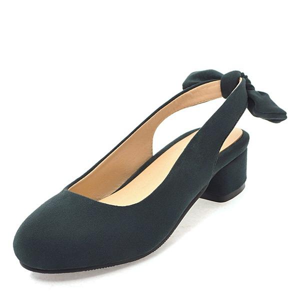 Женщины Замша Низкий каблук Босоножки с бантом обувь