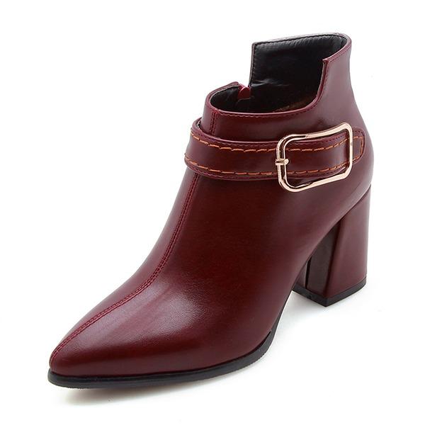 Frauen Kunstleder Stämmiger Absatz Geschlossene Zehe Stiefel Stiefelette mit Schnalle Reißverschluss Schuhe