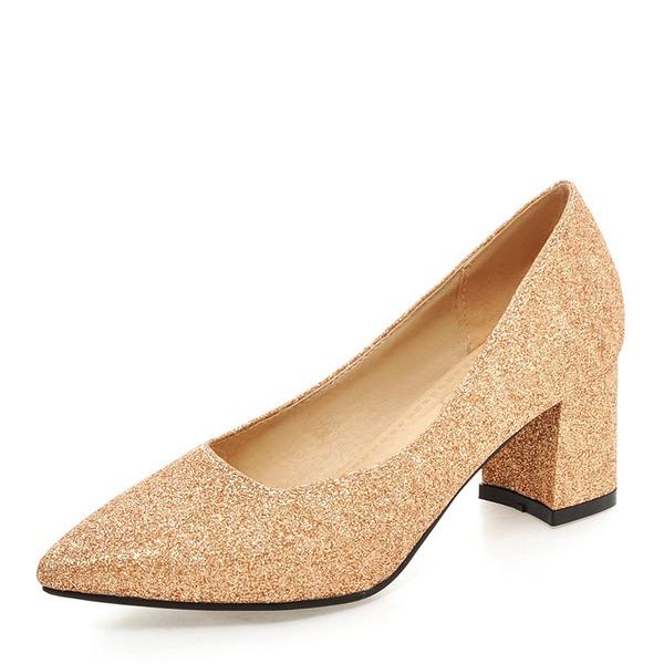 Naisten Kuohuviini glitteri Chunky heel Avokkaat Suljettu toe kengät