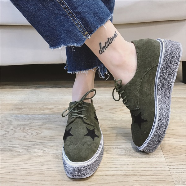 Women's Suede Wedge Heel Closed Toe Wedges With Lace-up shoes