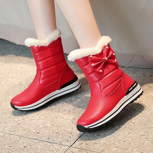 Women's Leatherette Low Heel Snow Boots With Bowknot Imitation Pearl shoes