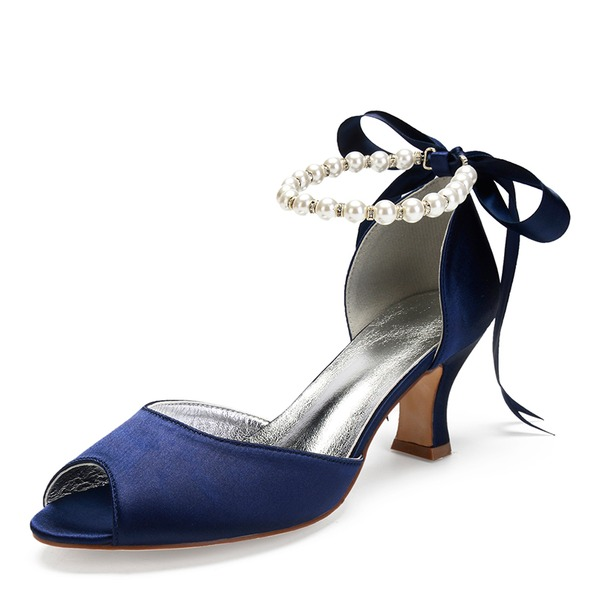 Women's Silk Like Satin Chunky Heel Peep Toe Sandals MaryJane With Bowknot Imitation Pearl Rhinestone Pearl