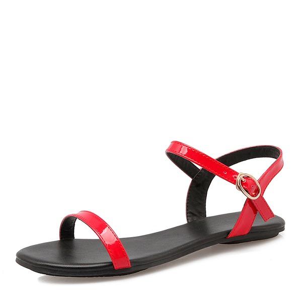 Naisten Kiiltonahka Matalakorkoiset Heel Sandaalit Matalakorkoiset jossa Solki kengät