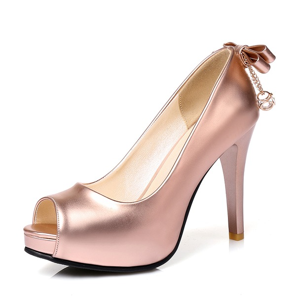 Mulheres PU Salto agulha Bombas Plataforma com Bowknot sapatos