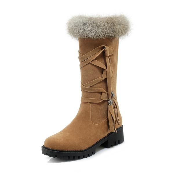 Kvinder Ruskind Lav Hæl Lukket Tå Støvler Mid Læggen Støvler Snestøvler med Blondér Pels sko