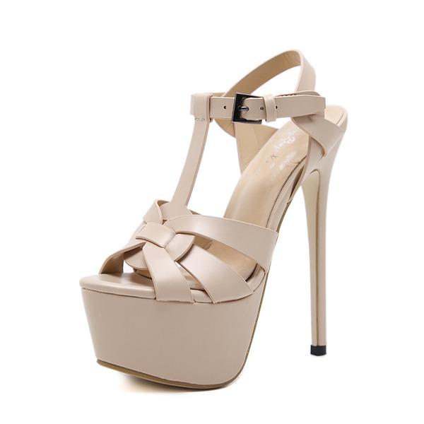 Frauen PU Stöckel Absatz Sandalen Absatzschuhe Peep Toe Slingpumps mit Schnalle Schuhe
