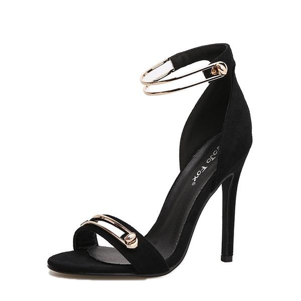 Kvinder Ruskind Stiletto Hæl sandaler Pumps Kigge Tå med Spænde sko