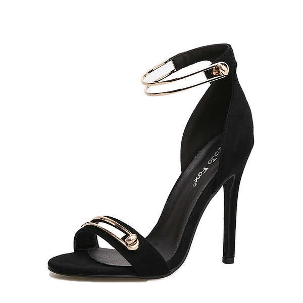 Frauen Veloursleder Stöckel Absatz Sandalen Absatzschuhe Peep Toe mit Schnalle Schuhe