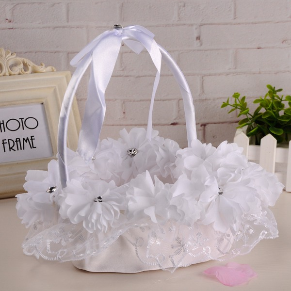 Elegant Flower Basket in Cloth With Ribbons/Lace/Flower