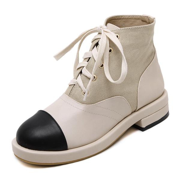 Femmes Toile PU Talon bottier Plateforme Bout fermé Bottes Bottines avec Dentelle chaussures