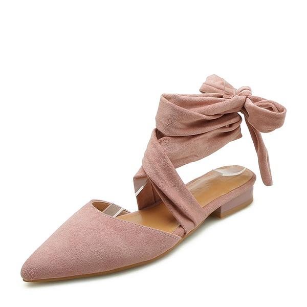 Женщины Замша Плоский каблук Сандалии На плокой подошве Закрытый мыс Босоножки с Шнуровка обувь
