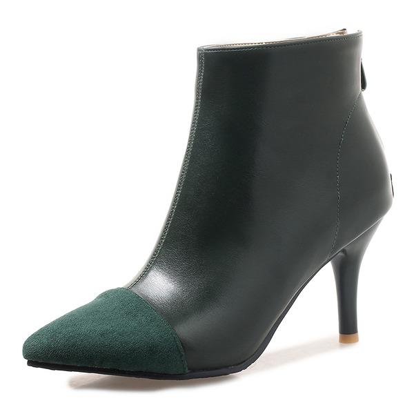 Kvinner Semsket Lær Stiletto Hæl Pumps Støvler Ankelstøvler Mid Leggen Støvler med Delt Bindeled sko