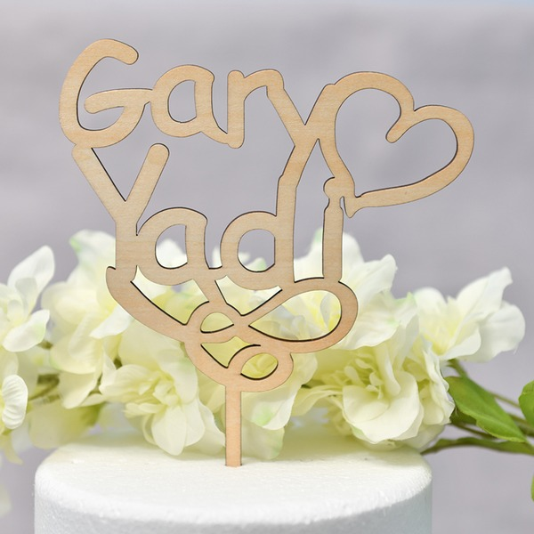 Personalized Heart/You & Me Wood Cake Topper (Sold in a single piece)