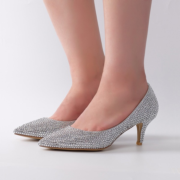 Women's Real Leather Stiletto Heel Pumps With Rhinestone