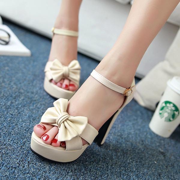 Vrouwen Kunstleer Chunky Heel Pumps Plateau met strik schoenen
