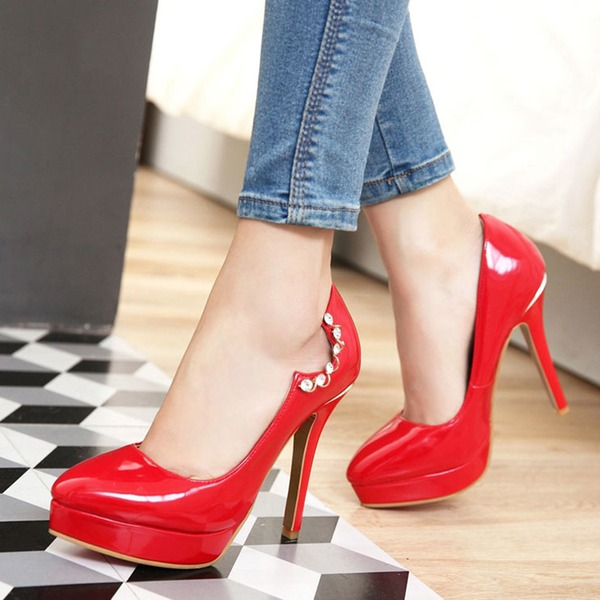 Women's Leatherette Stiletto Heel Pumps Platform Closed Toe With Rhinestone shoes