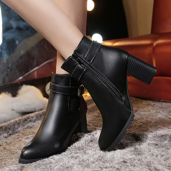Women's Leatherette Chunky Heel Closed Toe Boots Ankle Boots With Buckle shoes