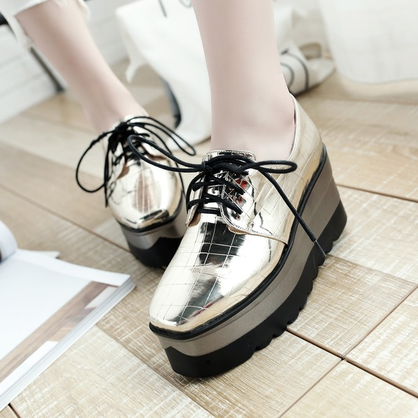 Women's Patent Leather Wedge Heel Wedges With Lace-up shoes
