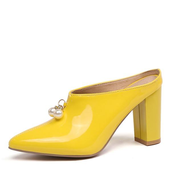 Женщины Лакированная кожа Устойчивый каблук На каблуках Босоножки обувь