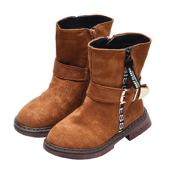 Unisex Round Toe Closed Toe Suede Low Heel Boots With Buckle