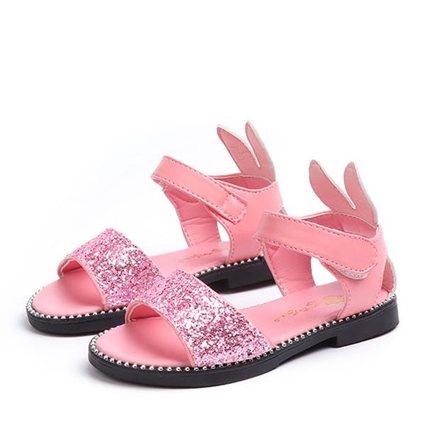 Fille de À bout ouvert Glitter mousseux talon plat Sandales Chaussures de fille de fleur avec Pailletes scintillantes Velcro