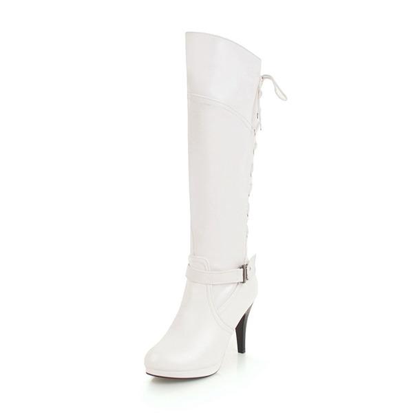 Kvinder Kunstlæder Stiletto Hæl Støvler med Blondér sko