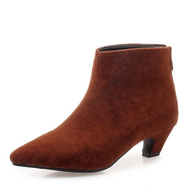 Frauen Veloursleder Niederiger Absatz Geschlossene Zehe Stiefel Stiefelette mit Reißverschluss Schuhe