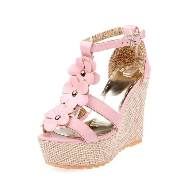 Women's Leatherette Wedge Heel Pumps Wedges With Flower shoes