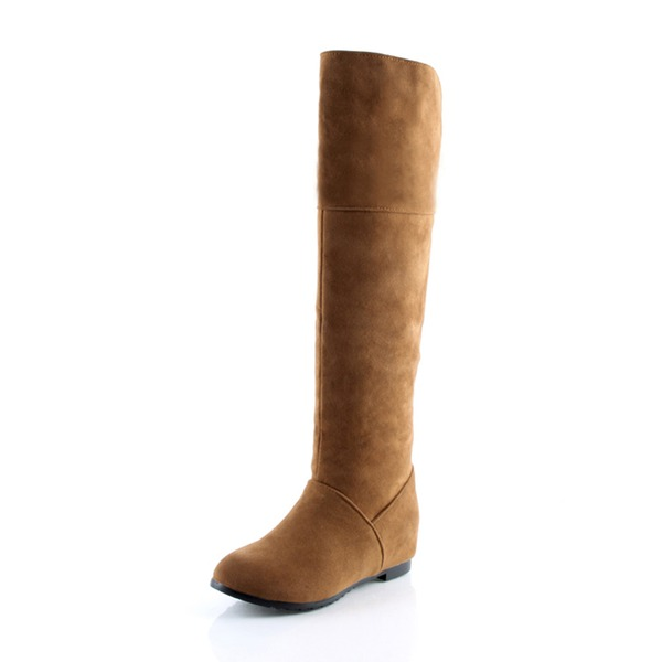 Women's Suede Flat Heel Flats Closed Toe Boots Knee High Boots shoes