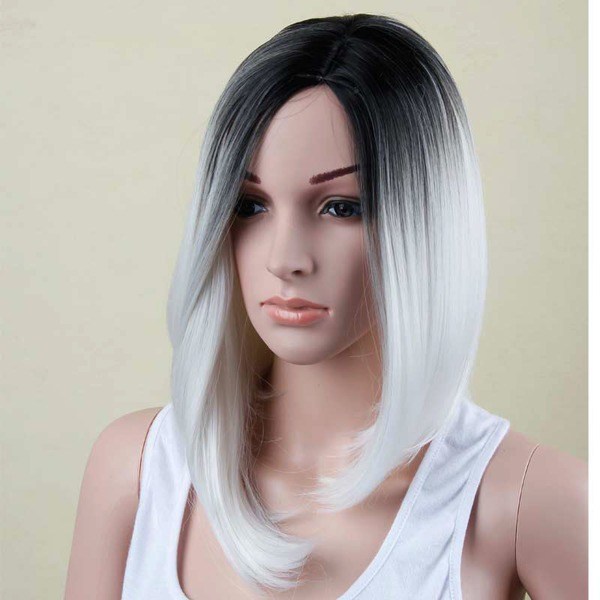 High temperature Straight Mid-Length Synthetic Wigs