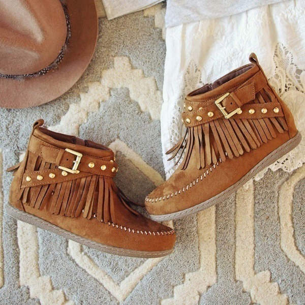 Women's Suede Flat Heel Flats Boots With Buckle Tassel shoes