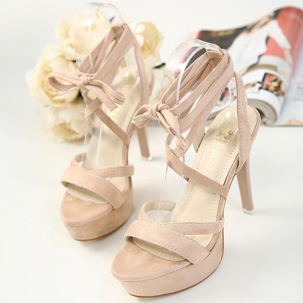 Femmes Suède Talon stiletto Escarpins Plateforme avec Dentelle chaussures