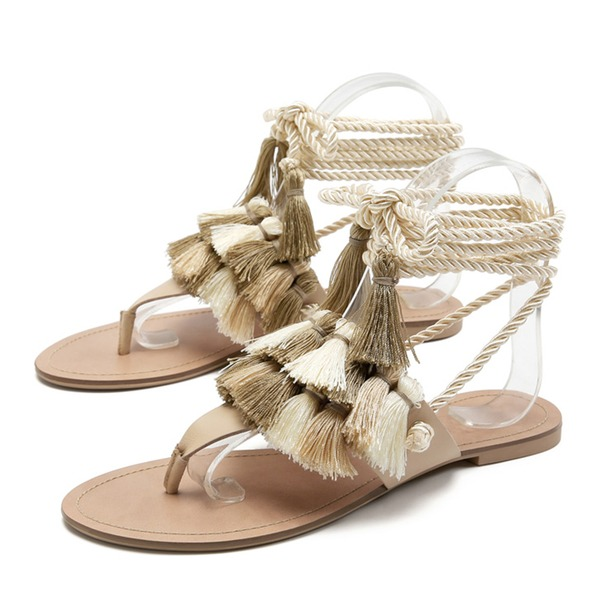 Women's PU Flat Heel Flats Flip-Flops Slippers With Lace-up Tassel shoes