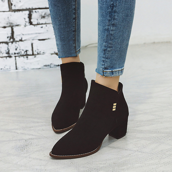Women's Suede Chunky Heel Pumps Boots Ankle Boots With Sequin Zipper shoes