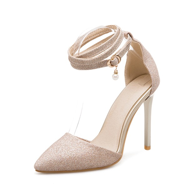 Women's Sparkling Glitter Stiletto Heel Sandals Pumps With Chain shoes