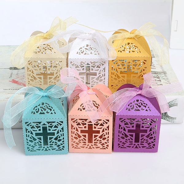 Creative/Classic/Lovely Cubic Card Paper Favor Boxes With Ribbons (Set of 12)