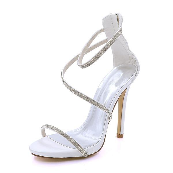 Women's Silk Like Satin Stiletto Heel Platform Pumps Sandals With Others