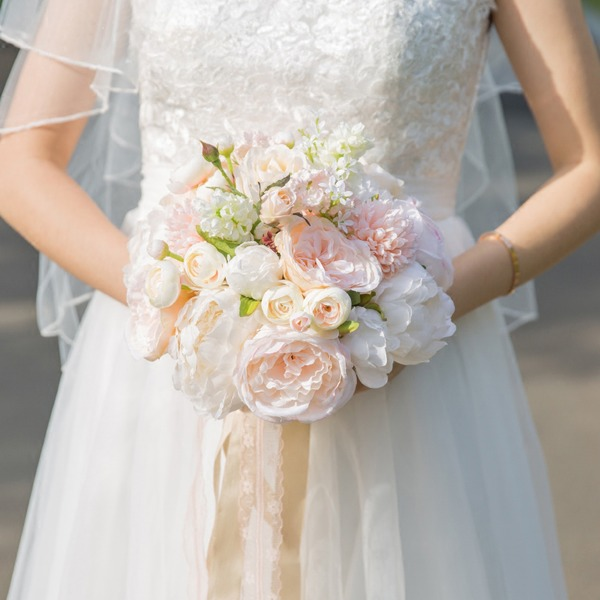 Lovely Free-Form Satin Bridal Bouquets -