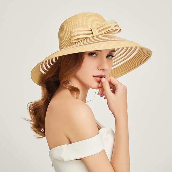 Ladies ' Classic/Enkle Papyrus med Bowknot Strand / Sun Hatte/Kentucky Derby Hatte/Tea Party Hats