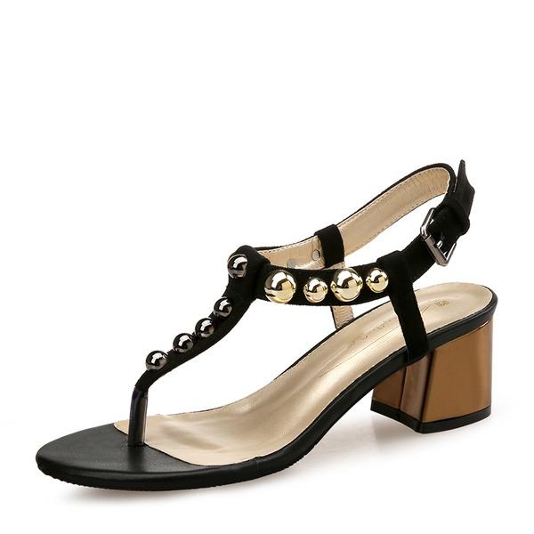 Kvinder Ruskind Stor Hæl sandaler Pumps Kigge Tå Slingbacks med Nitte sko