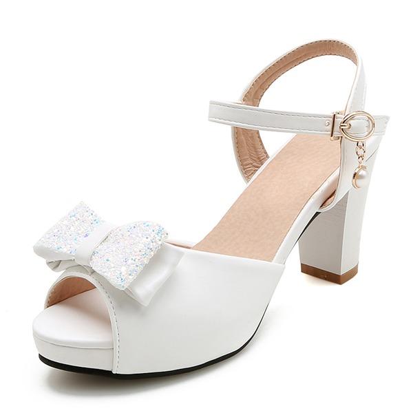 Kvinner Lær Stor Hæl Sandaler Platform Titte Tå med Bowknot sko