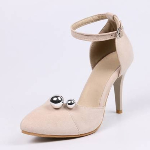Women's Suede Stiletto Heel Pumps Closed Toe With Imitation Pearl shoes