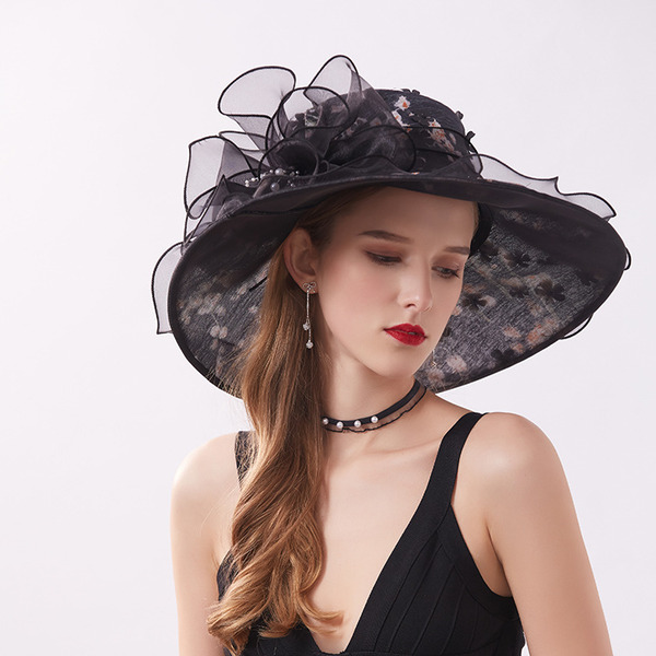 Ladies ' Classic/Smuk Silke med Imiteret Pearl Strand / Sun Hatte/Kentucky Derby Hatte/Tea Party Hats