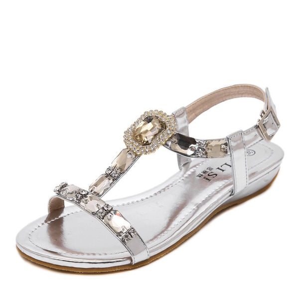 Women's Leatherette Flat Heel Flats Peep Toe Slingbacks With Crystal