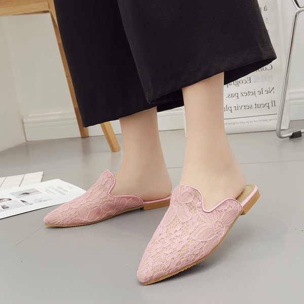 Lace Flat Heel Flats Closed Toe Slingbacks Slippers With Others shoes