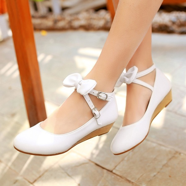 Women's PU Wedge Heel Closed Toe Wedges With Bowknot Buckle shoes