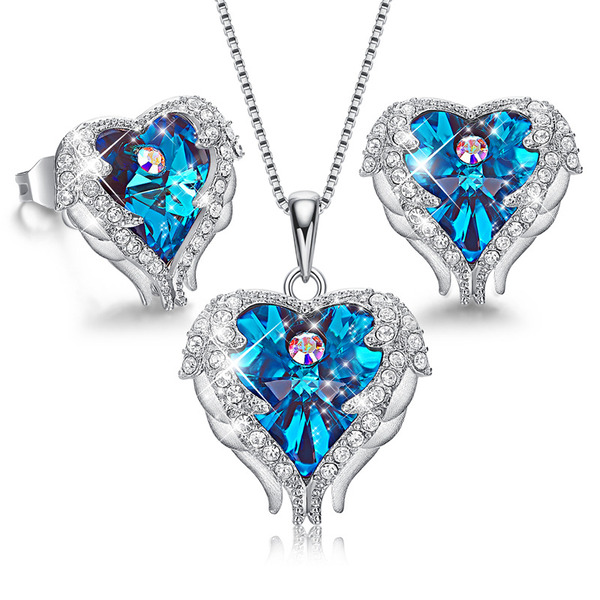 Ladies' Beautiful Crystal/Copper/925 Sterling Silver Crystal Jewelry Sets For Bride/For Bridesmaid/For Mother/For Her