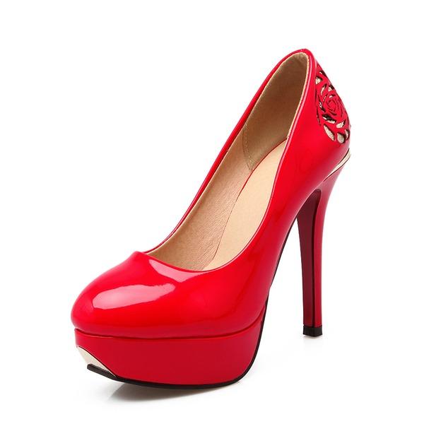 Kadın Rugan İnce Topuk Pompalar Platform Ile Aplike ayakkabı