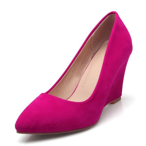 Kvinnor Sammet Kilklack Pumps skor