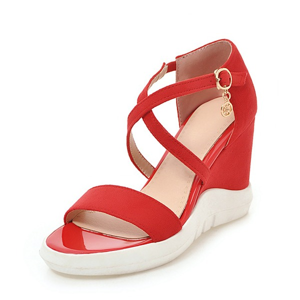 Vrouwen Suede Wedge Heel Sandalen Wedges Peep Toe Slingbacks met Gesp schoenen